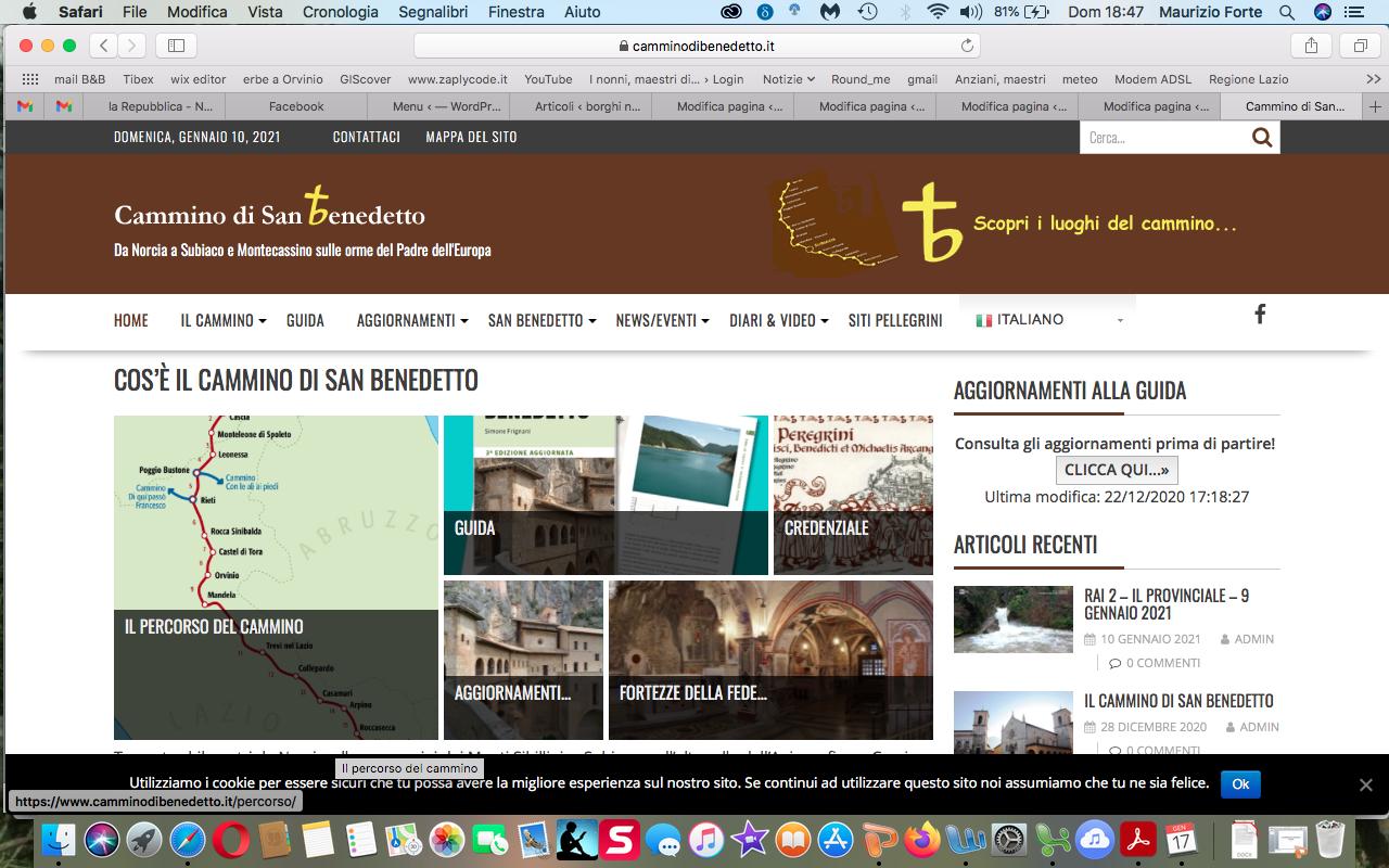 il sito del cammino di san Benedetto